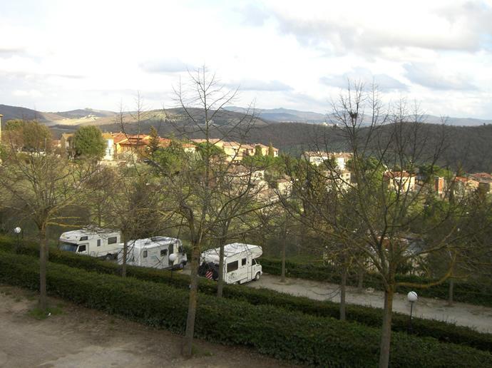 Ausblick auf den Stellplatz in Radda