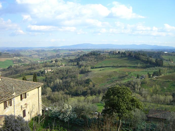 Ausblick in die Toskana von San Gimigiano
