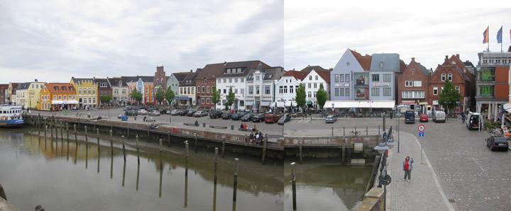 Panoramabild der Husumer Hafenpromenade