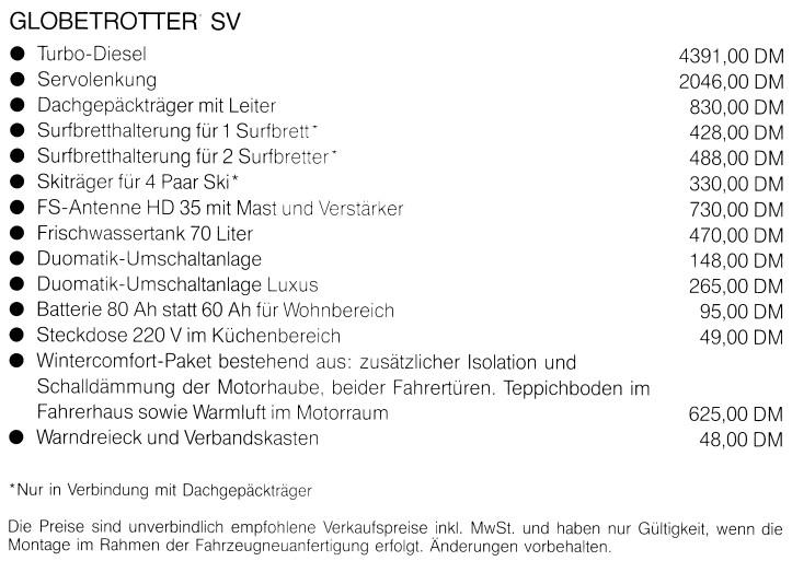Aufpreisliste für Sonderausstattung der Globetrotter BM und SV