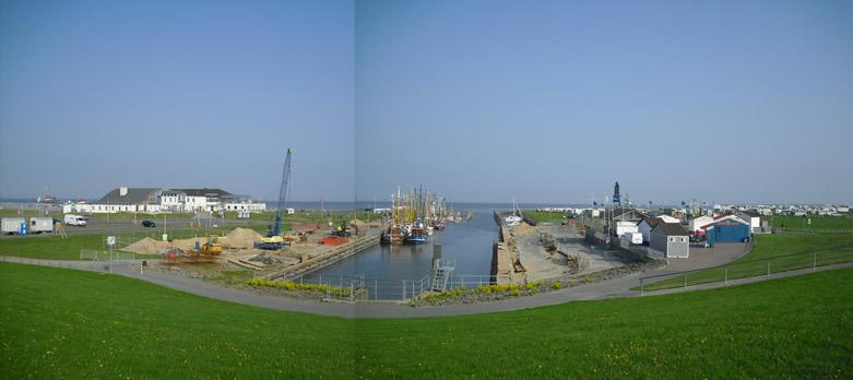 Ausblick in das Hafenbecken von Dorum-Neufeld