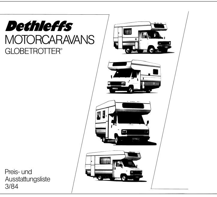 Preisliste Globetrotter 1984 Deckblatt
