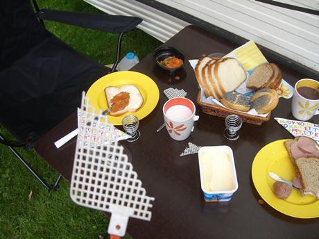 Frühstück mit Fliegenklatsche