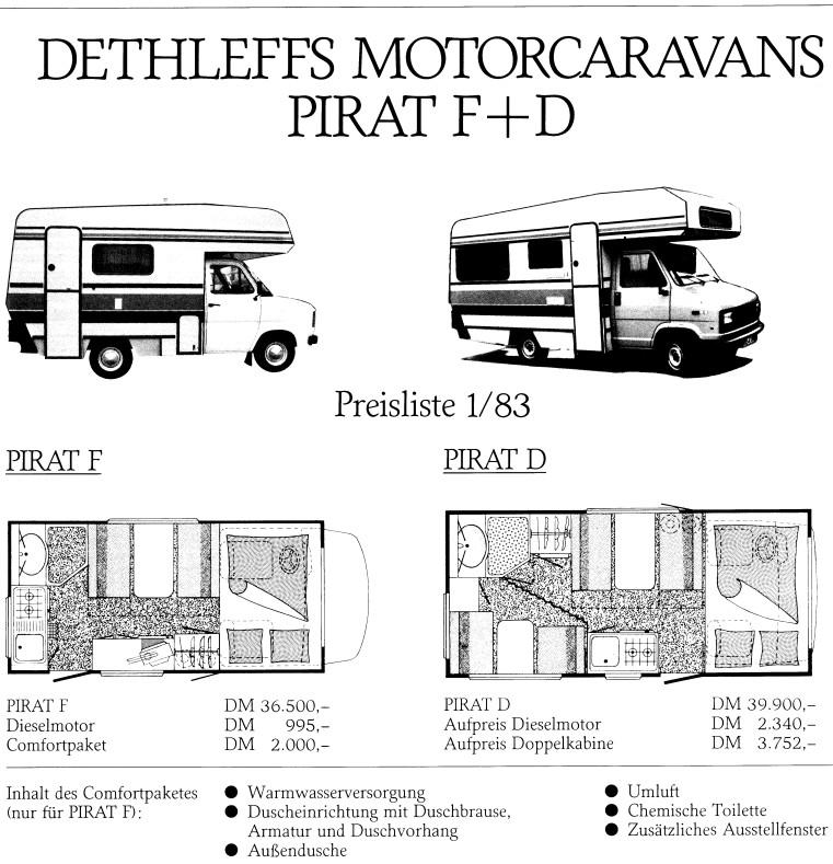 Übersicht über die Modelle Pirat F und D mit Preisen und Grundriss
