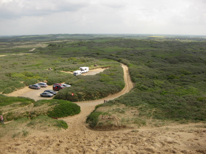 Ausblick auf den Parkplatz am Rubjerg Leuchtturm