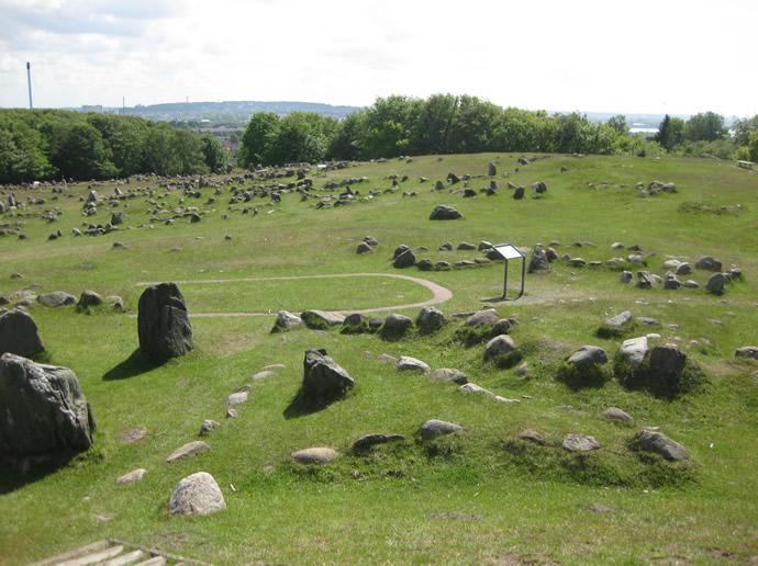 Blick über die Grabanlage der Wikinger bei Lindholm Hoje