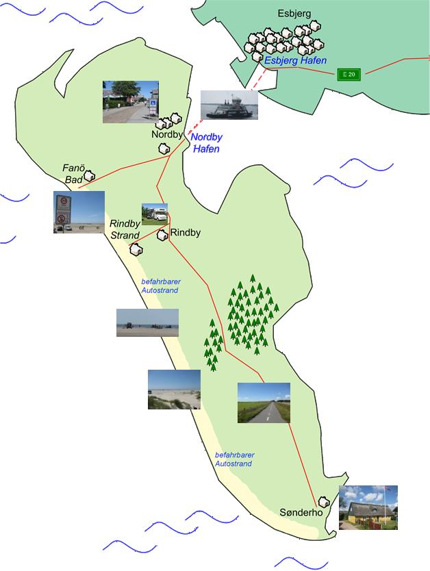 grafische Karte von Fanö