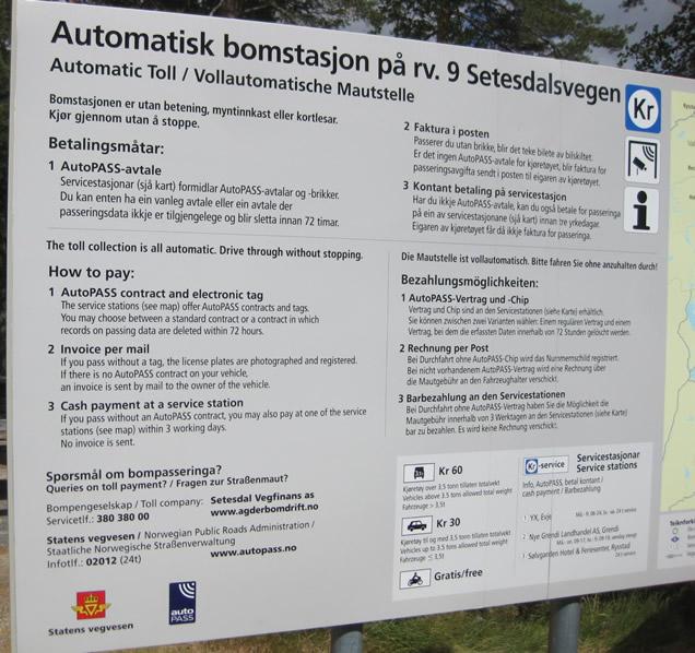Infotafel für Maut in Norwegen