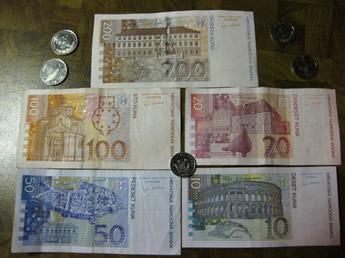 Rückseite Geldscheine kroatische Kuna