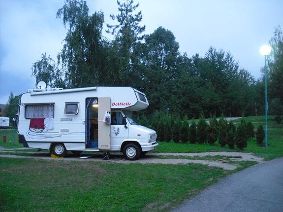 Wohnmobil auf dem Campingplatz Turist bei den Plitviczer Seen