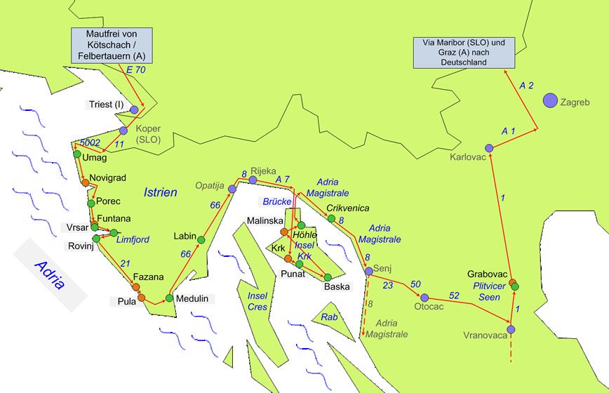Unsere Route durch Kroatien: Istrien, Krk und Plitvicer Seen