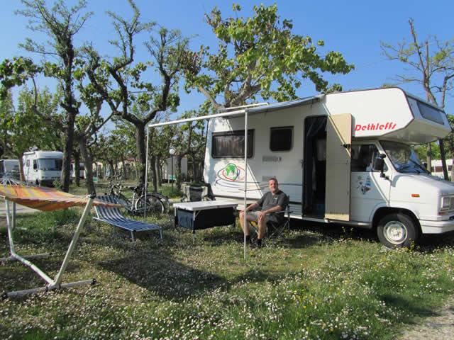 Campinglager auf Riccione aufgebaut